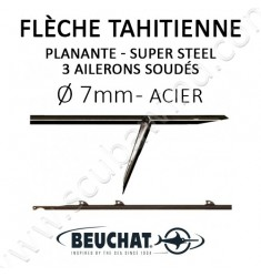 Flèche tahitienne planante Super Steel 7mm 3 ailerons