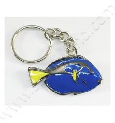 Porte-clef en étain Poisson Chirurgien Bleu