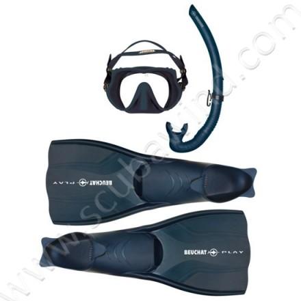 Pack palmes, masque et tuba Atoll - Ultra Bleu