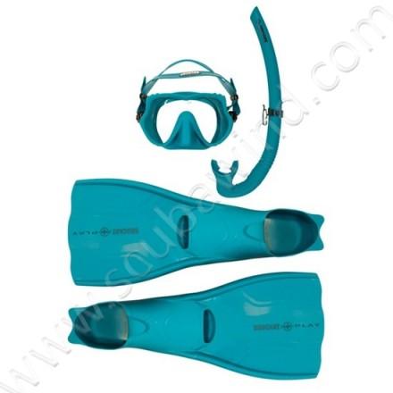 Pack palmes, masque et tuba Atoll - Bleu Atoll