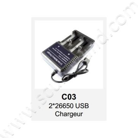 Chargeur USB pour 2 batteries 26650