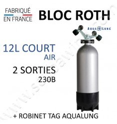Bloc de 12L Court Air - Robinet TAG (Aqualung)