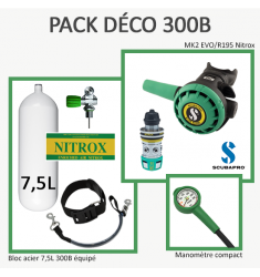 Pack Déco 300B : Bloc 7,5L équipé + MK2 EVO/R195 Nitrox + Manomètre