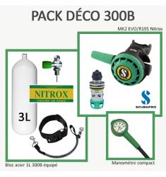Pack Déco 300B  : Bloc 3L équipé + MK2 EVO/R195 Nitrox + Manomètre