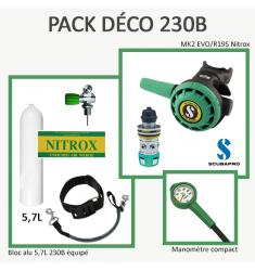 Pack Déco 230B : Bloc Alu 5,7L équipé + MK2 EVO / R195 Nitrox + Manomètre