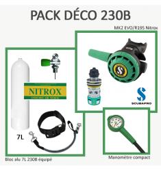Pack Déco 230B : Bloc Alu 7L équipé + MK2 EVO / R195 Nitrox + Manomètre